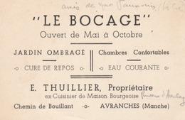 """Carte Pub. D'Avranches (Manche) - Hôtel-Restaurant """"le Bocage"""" E. THUILLLIER, Ex-cuisinier De La Pricesse D'arenberg. - Werbung"""