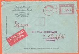 ITALIA - ITALY - ITALIE - 1972 - 325 EMA, Red Cancel - INPS Potenza - Espresso - Viaggiata Da Potenza Per Bielefeld, Ger - Affrancature Meccaniche Rosse (EMA)