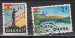 GHANA Scott # 216-7 Used - Overprinted New Currency - Ghana (1957-...)