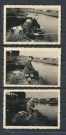 Hommes Et Pêche Sur Le Canal  Bruxelles/Charleroi  Août 1943  3 Fotos Originales 8/6 Cm - Personnes Anonymes