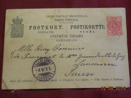 Entier Postal De Finlande De 1896 ( Administration Russe) à Destination De Lausanne - Finlandia