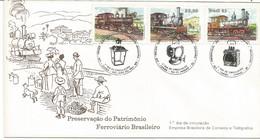 Brazil 1983: FDC - Brazilian Railway Heritage: Trains, Landscapes, Instruments. - Trains