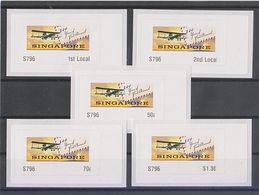 Singapore 2019 Atm Frama Label 100 Years Of First Airmail Flight 5v Airplane - ATM - Frama (Verschlussmarken)