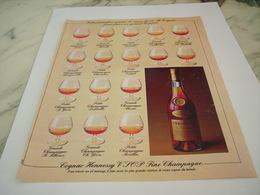 ANCIENNE PUBLICITE POUR FAIRE UN GRAND COGNAC HENNESSY 1977 - Alcools