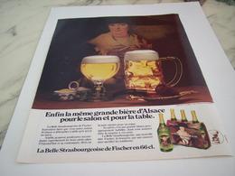 ANCIENNE PUBLICITE A TABLE OU SALON BIERE D ALSACE FISCHER 1977 - Alcools