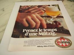ANCIENNE PUBLICITE PRENEZ LE TEMPS BIERE MUTZIG ET L ALSACE 1977 - Alcools