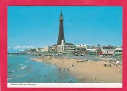 Modern Post Card Of The Beach And Tower,Blackpool,Lancashire,B45. - Blackpool