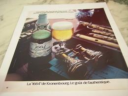 ANCIENNE  PUBLICITE AMATEUR BIERE 1664 KRONENBOURG 1975 - Alcools