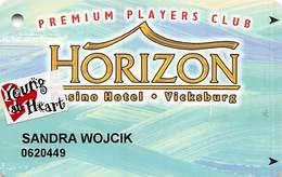 Horizon Casino - Vicksburg, MS - Slot Card - ACC Lower Left & 2505155 Lower Right On Back & Senior Sticker - Casinokaarten