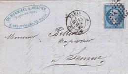 LAC De Paris (75) Pour Semur-en-Auxois (21) - 14 Novembre 1860 - Timbre YT14 + Ob. Losange J - CAD N°1521 & 15 + Amb. - 1849-1876: Klassieke Periode