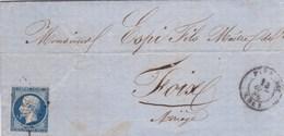 LAC De Firminy (42) Pour Foix (09) - 17 Décembre 1856 - Timbre YT14 + Ob. Losange PC 1276 - CAD Rond Type 15 - 1849-1876: Periodo Classico