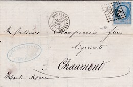 LAC De Moulins (03) Pour Chaumont (52) - 22 Novembre 1867 - Timbre YT22 + Ob. Losange GC 2565 - CAD Type 15 + Amb. - 1849-1876: Periodo Classico