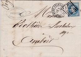 LAC De Clermont-Ferrand (63) Pour Ambert (63) - 5 Juillet 1870 - Timbre YT29 + Ob. Losange GC 1053 - CAD Type 17 - 1849-1876: Periodo Classico