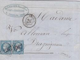 LAC De Cogolin (83) Pour Draguignan (83) - 3 Novembre 1866 - Timbre YT22 + Ob. Losange GC 1067 - CAD Rond Type 15 - 1849-1876: Periodo Classico