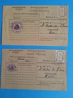 FRANCE Deux Carte De Ravitaillement Avec Les Timbres - Sellos