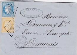 LAC De Noailles (60) Pour Beauvais (60) - 12 Mai 1873 - Timbre YT59 + 60 + Ob. Losange GC 2661 - CAD Type 16 & 17 - 1849-1876: Periodo Classico