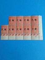 FRANCE FRANCHISE MILITAIRE N° 6 NEUFS ** En Bloc De 9 Ex. Avec Coins Daté .TB Cote 200 € - Sellos