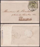BELGIQUE COB 42 SUR BANDE JOURNAL DE JUMET 08/01/1889 VERS BRUGES (DD) DC-3821 - 1869-1888 Lion Couché