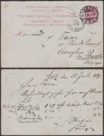 BELGIQUE EP10c ROUGE CARTE REPONSE DE METZ 28/07/1892 VERS CUREGHEM (DD) DC-3831 - 1884-1891 Leopold II