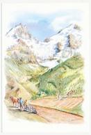 CPSM 10.5 X 15 Aquarelle De PH. FRESCOURT  Travaux Des Champs En Montagne Chevaux Charrue Herse Labour - Paintings