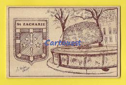 SAINT- ZACHARIE  83  Gravure Sur Bois - A ROCHE CHOPY - FONTAINE - CARTE En BOIS - Saint-Zacharie