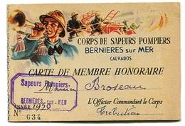 Bernières-sur-Mer Carte De Membre Sapeurs Pompiers 1950 - Vieux Papiers