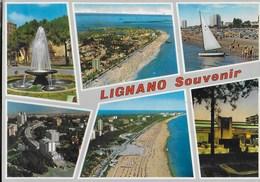 VENETO - LIGNANO SOUVENIR - VIAGGIATA 1968 - ANNULLO MECCANICO A 5 LINEE ONDULATE POSTE LIGNANO SABBIADORO - Italia