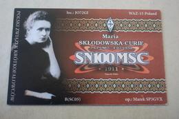 Polish Scientist Maria Skłodowska-Curie - Old Polish QSL Postcard - Nobel Prize - Premi Nobel