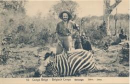 1922 - Congo Belge - Entier Ill. 52 - Chasse - Zébre - Postwaardestukken
