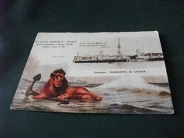 NAVE SHIP CORAZZATA RUGGIERO DI LAURIA SPEZIA  CARTOLINA DEL 1900 IN OCCASIONE 100°  LEGA NAVALE ITALIANA 1897 1997 - Guerra