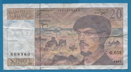 FRANCE 20 FRANCS 1997 ''Debussy'' Serie G.058 - 1962-1997 ''Francs''