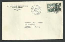 Bordeaux , Gironde , N°1118 Région Bordelaise  Seul Sur Lettre Du 24 12 1957 - Marcophilie (Lettres)