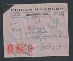 ESPAGNE LETTRE COMMERCIALE SUR TIMBRES EURICO HERRERO PINTRE DECORATEUR A SALAMANCA POUR ALFANDEGO DO PORTO PORTUGAL : - 1931-Aujourd'hui: II. République - ....Juan Carlos I