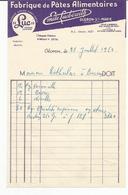 """Facture Du 21.07.1950 Fabrique """"mile Lucbereilh"""" De Pâtes Alimentaires """"LUC"""" à OLORON Ste Marie - Alimentaire"""