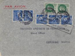 Novembre 1942- Env.. Par Avion De St Gaudens ( Haute Garonne ) Pour PETITJEAN  ( Maroc )  Avec Retour - Marcophilie (Lettres)