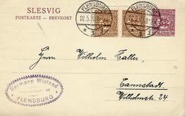 1920 -SLESVIG - Postkarte 15 Pf + 15 Pf From FLENSBURG - Coordination Sectors