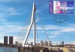 D37811 CARTE MAXIMUM CARD FD 2001 NETHERLANDS - ERASMUS BRIDGE ROTTERDAM CP ORIGINAL - Bridges