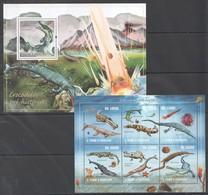 BC811 2010 S.TOME E PRINCIPE FAUNA REPTILES CROCODILOS PRE-HISTORICOS 1BL+1KB MNH - Prehistorics