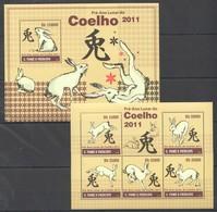 BC816 2010 S.TOME E PRINCIPE FAUNA ANIMALS ART PRE-ANO LUNAR DO COELHO 1KB+1BL MNH - Chinese New Year