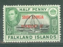 Falkland Islands Dep: 1944/45   KGVI - 'South Georgia' OVPT    SG B1   ½d    MH - Falkland Islands