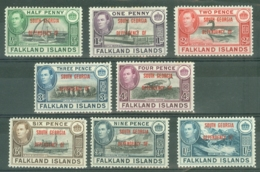 Falkland Islands Dep: 1944/45   KGVI - 'South Georgia' OVPT Set  SG B1-B8    MH - Falklandinseln