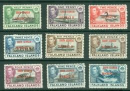 Falkland Islands Dep: 1944/45   KGVI - 'South Georgia' OVPT Set  SG B1-B8 (incl. B6a)    MNH - Falkland Islands