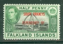 Falkland Islands Dep: 1944/45   KGVI - 'South Orkneys' OVPT    SG C1   ½d    MH - Falkland