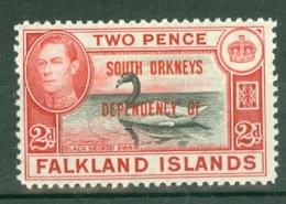 Falkland Islands Dep: 1944/45   KGVI - 'South Orkneys' OVPT    SG C3   2d    MH - Falkland Islands