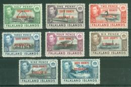 Falkland Islands Dep: 1944/45   KGVI - 'South Orkneys' OVPT Set  SG C1-C8    MH - Falkland Islands