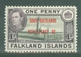 Falkland Islands Dep: 1944/45   KGVI - 'South Shetlands' OVPT  SG D2   1d    MH - Falkland Islands