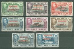 Falkland Islands Dep: 1944/45   KGVI - 'South Shetlands' OVPT Set  SG D1-D8    MH - Falkland Islands
