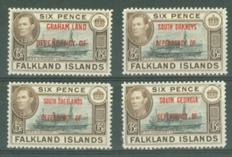 Falkland Islands Dep: 1944/45   KGVI - OVPTs    SG A6, B6, C6, D6   6d  Ship   MH - Falkland Islands