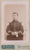 Photo Militaire : Soldat En Pose : Chasseur Alpin 14é Régt. ( Photo A. FINE - Briançon ) Format C.D.V. - War, Military
