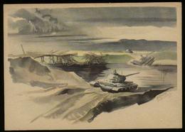 WW II Postkarte : Panzer Russland , Deutsche Panzer Durchqueren Die Shisdra , Ungebraucht. - Germany
